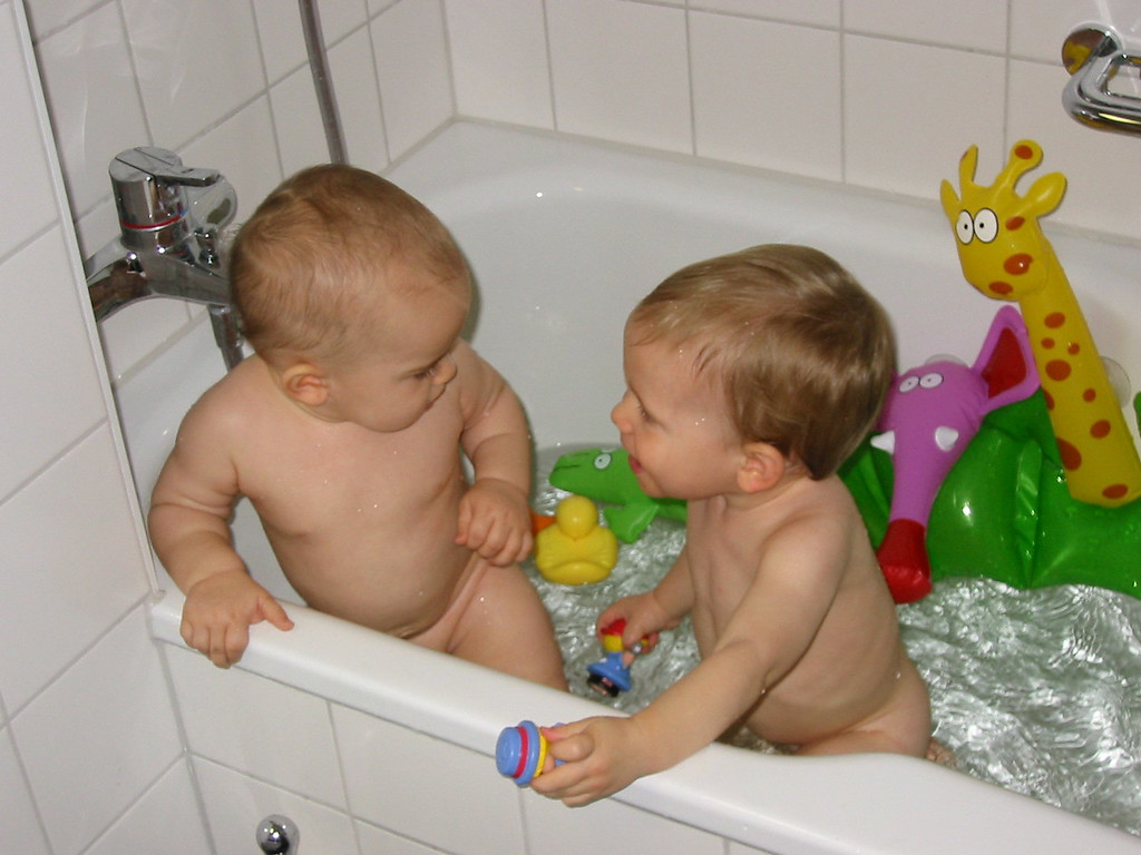 The two of them had a grand old time in the bath.