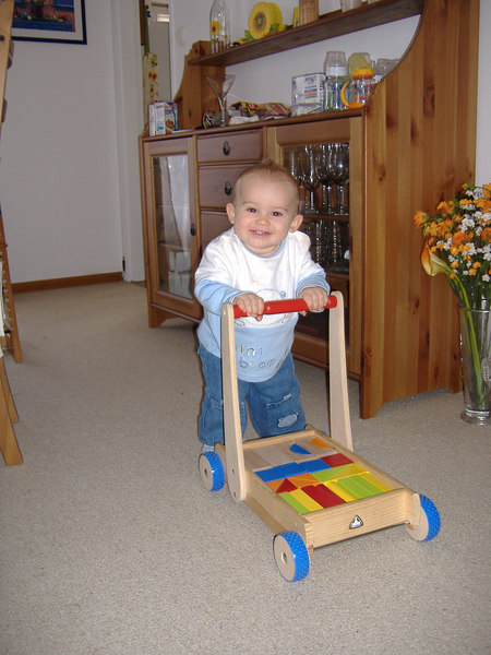 Sophia very kindly lent Jack her walker, as you can see he absolutely LOVES it!