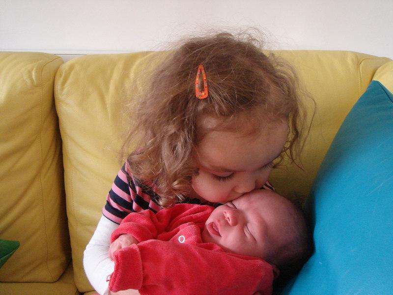 Kaili giving Cullen a kiss.