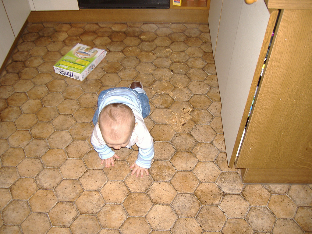 I couldn't figure out who had thrown the cornflakes all over the kitchen floor until I found the evidence! Someone had made a quick getaway!