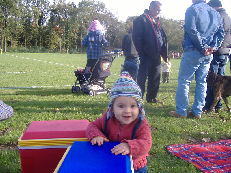 Keeping an eye on the pitch-side bar for Daddy at the rugby.