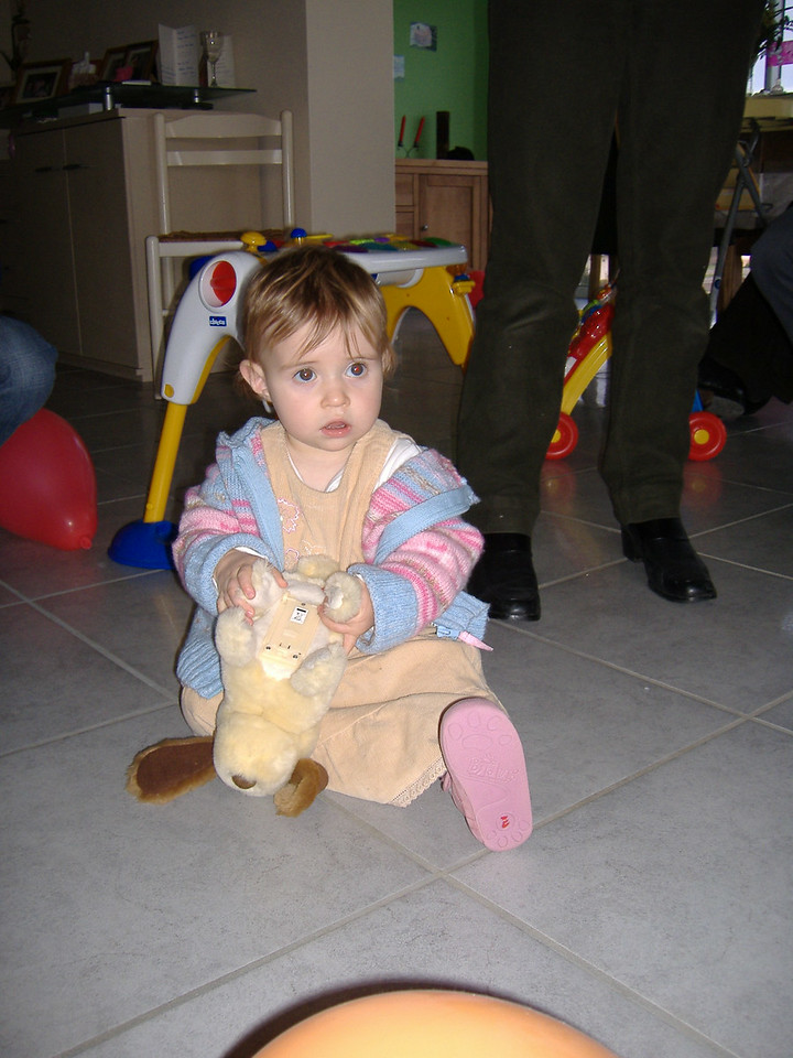 Ciara with her toy dog which Jack thought was hilarious when he barks & does a little somersault.