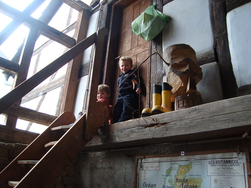 Jack & Gabriel hanging out in the Atkinsons' garage