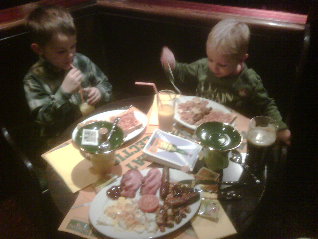 When I'm away @ rugby, I usually get a picture from Mike of the boys in Mr. Pickwicks :)