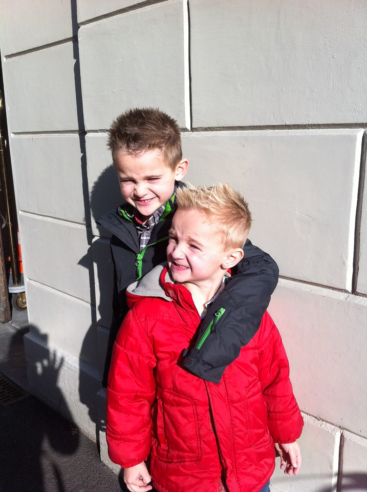 The boys got haircuts on a beautiful sunny Saturday