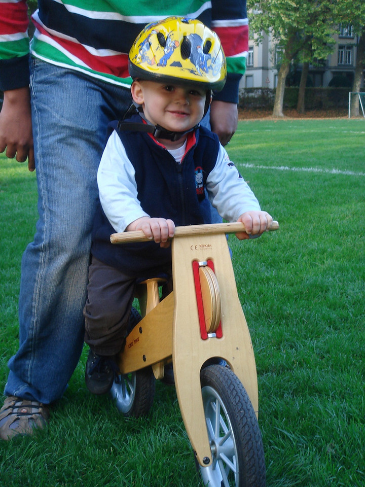 Marcel helped Jack to ride Kaili's Like-a-bike next to the pitch - he loves it