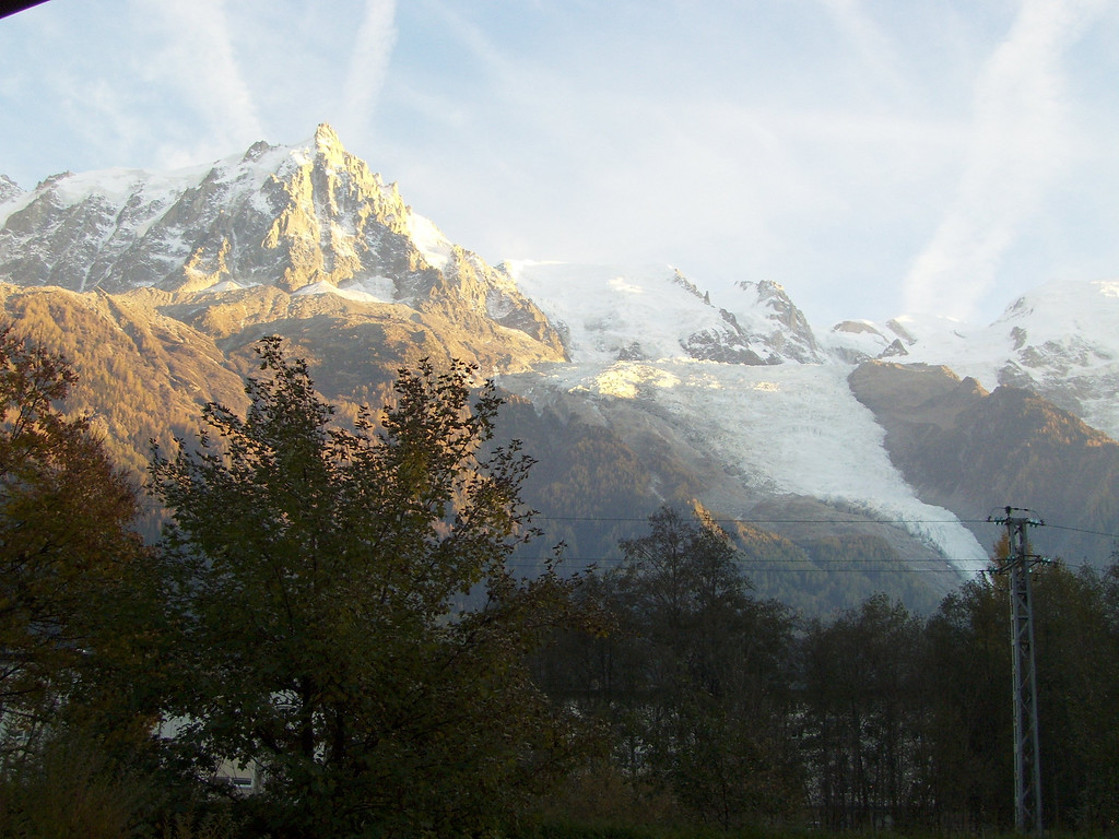 Sunset from our balcony: Aiguille du Midi & Glacier des Bossons