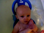 Naked in the bath seat gives Danny great access to his toes & he is pleased
