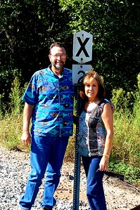 Posing at the side of the train tracks in Oklahoma.