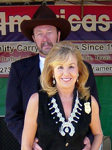Bill and I at the Americase booth at the End of Trail in 2004.  EOT is a Cowboy Action Shooting event where all the most famous and talented cowboy action shooters come together to compete.  Everyone dresses in vintage cowboy garb, just like we are here.