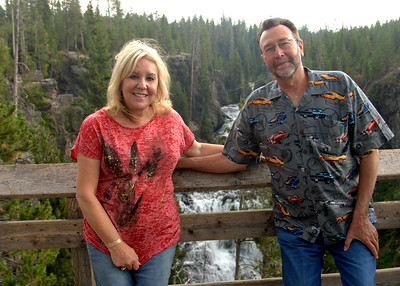 September, 2012  Bill and I in Yellowstone National Park in front of the Kepler Cascades waterfall.