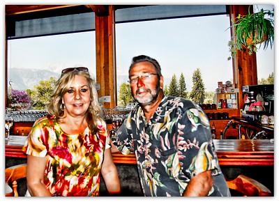 A pseudo HDR shot of Bill and I at Dornan's Restaurant in Moose, Wyoming.