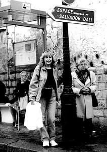 Linda's 1998 trip to Paris - hanging out on Salvador Dali's street.