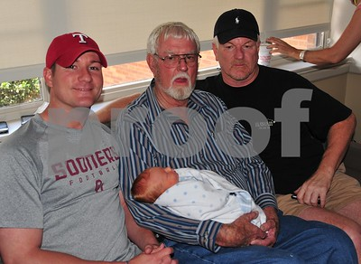 Four generations in one SOOC photo.  From left to right:  Father Nick, great grandfather Dewey holding new great nephew Cade and grandfather Sonny Richardson.  We are all so happy to have Mr. Cade Nicholas Richardson as a part of our family.