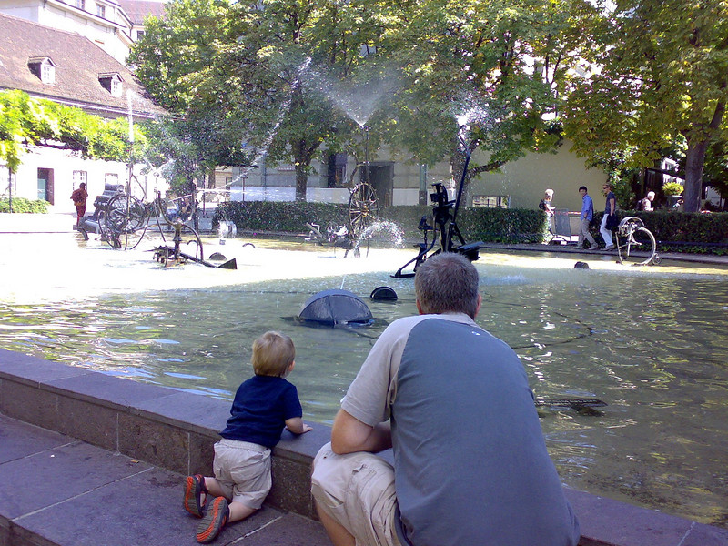 Andy & Jack checking out the Tinguely fountains