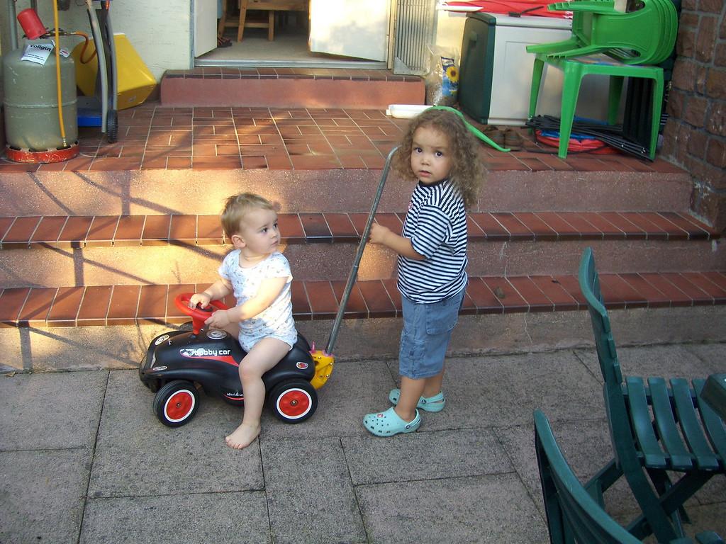 Kaili & Marcel popped around to pick-up some rugby tapes; Kaili & Jack both enjoyed Kaili pushing Jack around on the Bobby Car