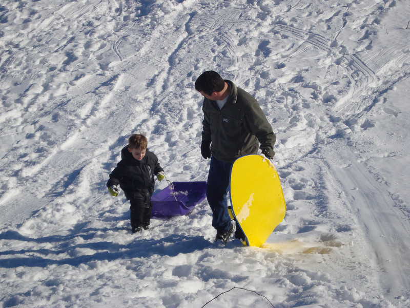 Finally got Jack to drag his own sled back up the hill