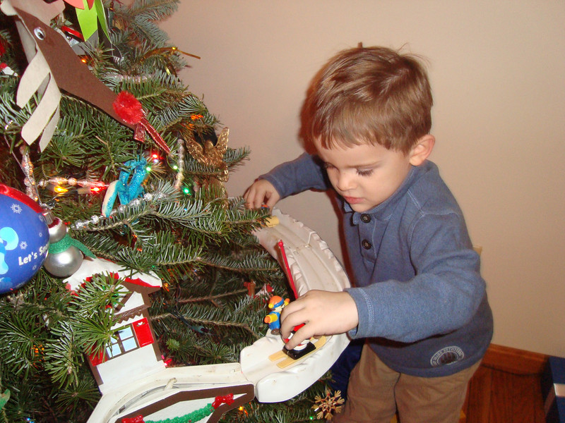 A much better picture of him actually playing with it - full concentration!