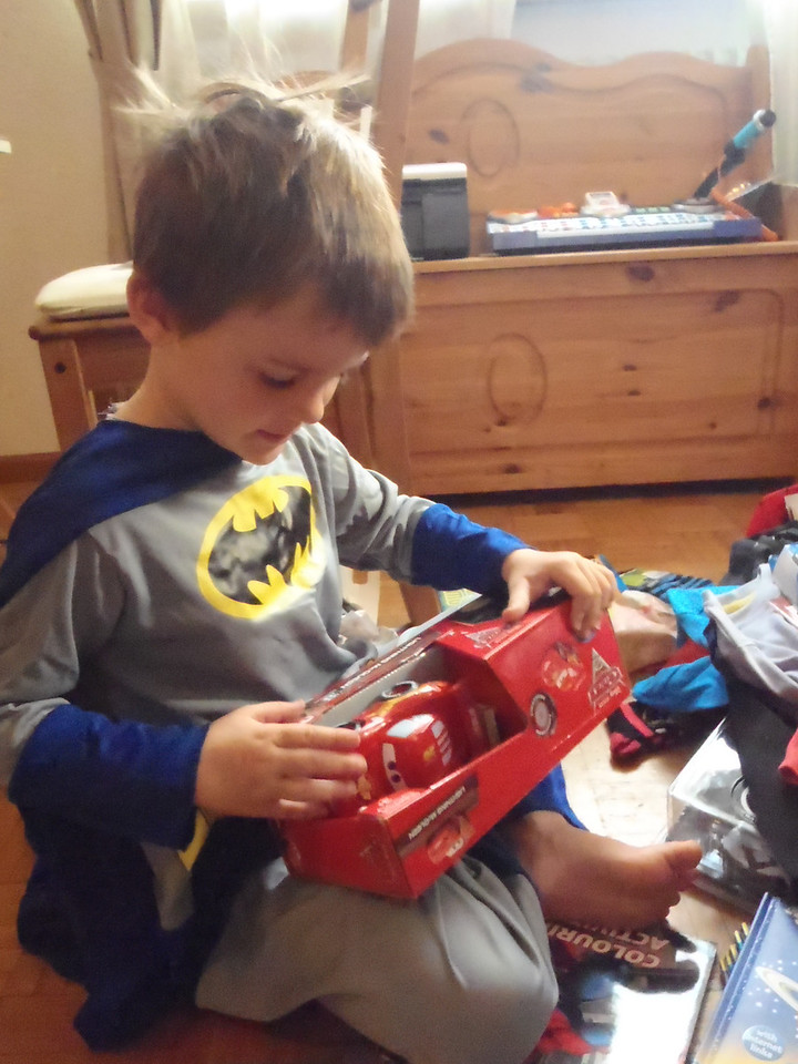 A remote controlled Lightning McQueen: thanks Grammy & PawPaw!