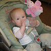 Jillian's first time feeding herself without any help.  We were at DSW (shoe store) in Rookwood.