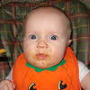 Jillian's first encounter with sweet potatoes - her first vegetable!