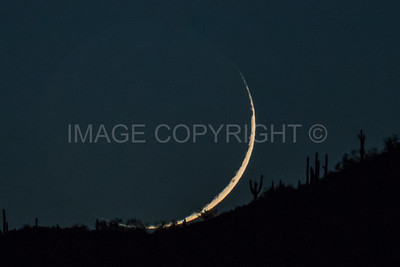 Crescent Moon Setting over Black Mountain