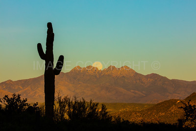 Moonrise over Four Peaks Mountain 2