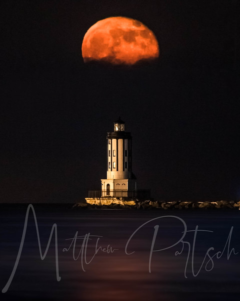Strawberry moon rising over the lighthouse.<br /> --<br /> I tried printing this to no avail.  So it will just live as a digital photo.  Does anyone else have trouble printing?