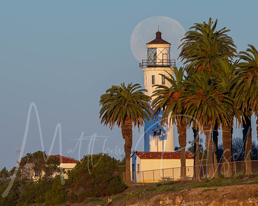 POW MIA flag with full moon setting over the Point Vicente lighthouse in Palos Verdes, California