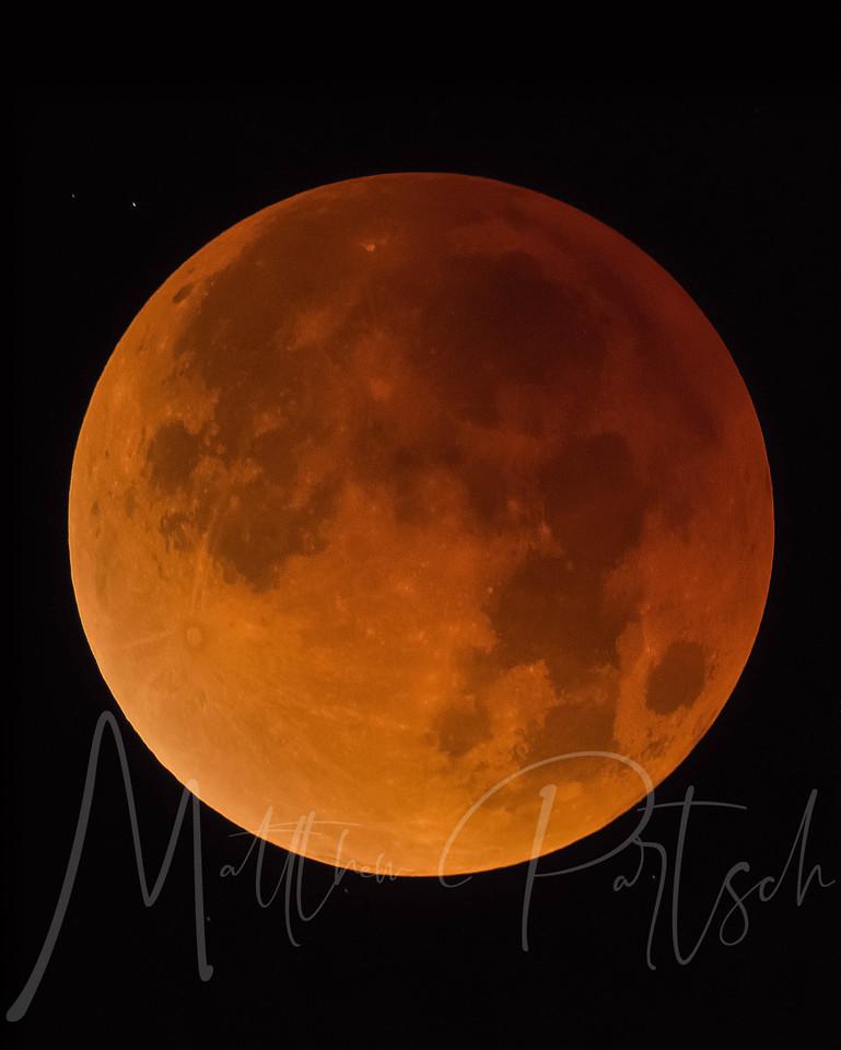 Supermoon Lunar Eclipse <br /> <br /> 1/31/2018<br /> -----------------------------------------<br /> ISO3200<br /> 0.6 sec<br /> Nikon D500<br /> Celestron 90 Telescope<br /> 9 images stacked