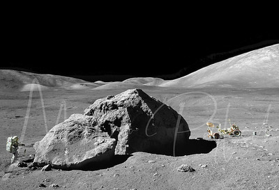 On Dec. 13, 1972, scientist-astronaut Harrison H. Schmitt is photographed standing next to a huge, split lunar boulder during the third Apollo 17 extravehicular activity (EVA) at the Taurus-Littrow landing site.   ******* This image was stitched and optimized in Photoshop using NASA images by @the_bluecloud. ********