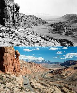 Arches National Park, entrance area looking toward Moab, UT.