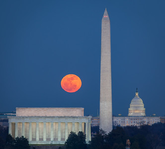 Moon Rising over Washington, DC