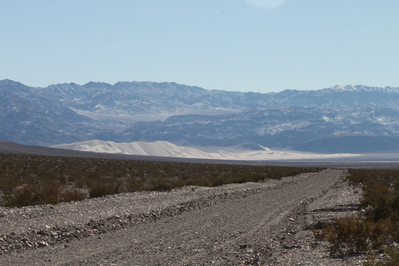 The Eureka Dunes visible in the distance!  The tallest dune is over 700' high.