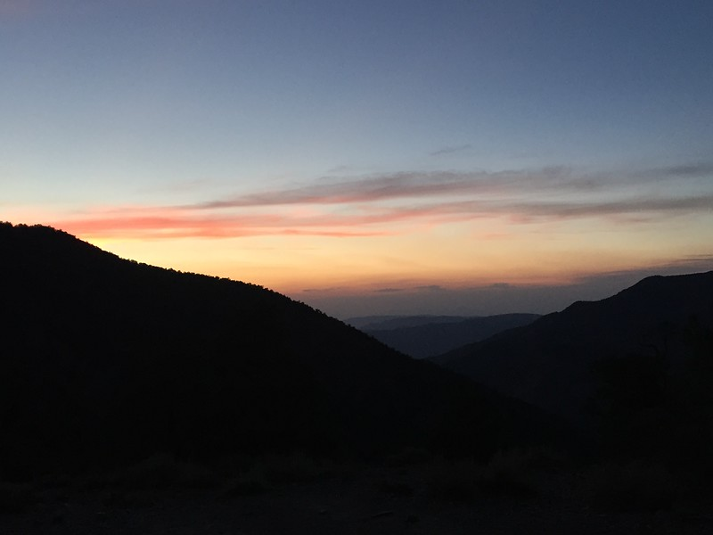 The sunset from Mahogany Flats campground
