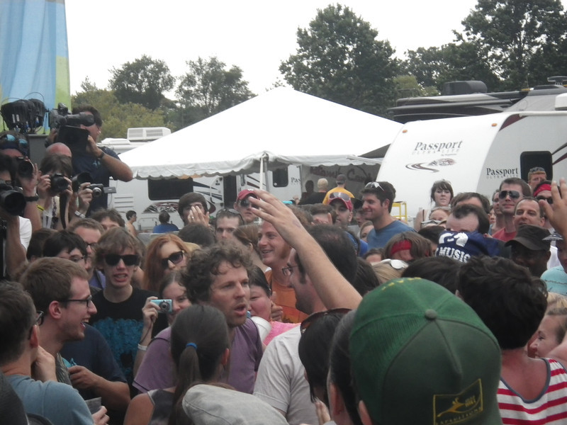 !!!'s lead singer in the crowd