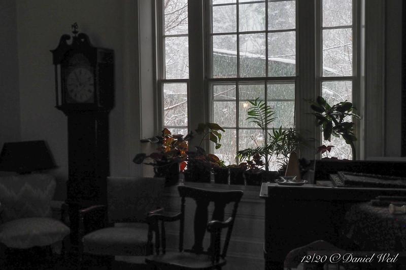 Snow, music room north window.