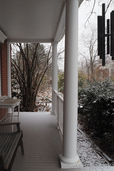 Front porch, beginning of snow