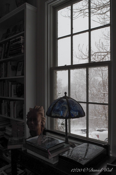 Through another library window....