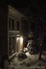 This doesn't do things justice.  The lamplight on the snow, the Daphne and the oakleaf holly, outside the library link door.  Tai-haku cherry is the large, leafless tree.