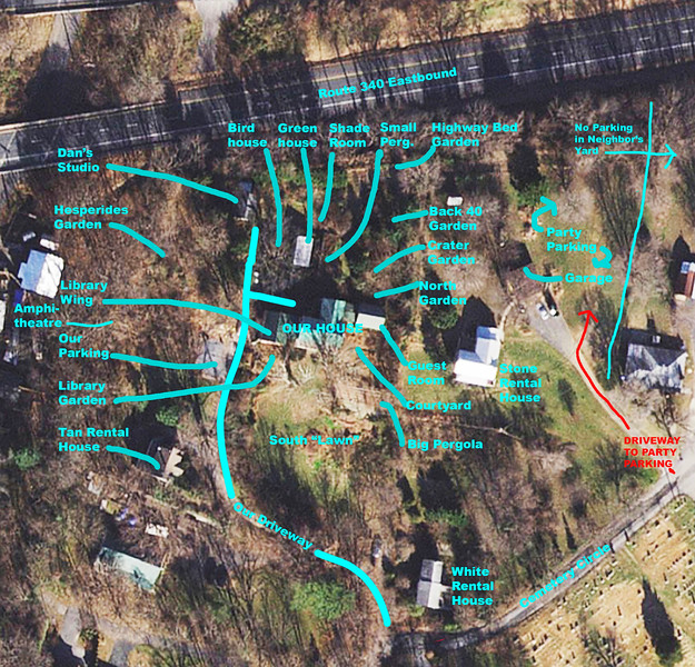 Map of the garden areas.