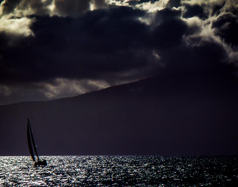 Sailing Honokahua Bay, Maui, Hawaii 1982