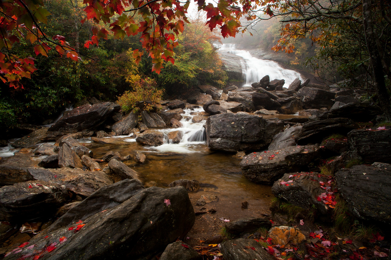 Mountains - Autumn at Second Falls, Graveyard Fields, Blue Ridge Parkway, NC.