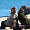 Sitting enjoying the winter sun in Antibes, France