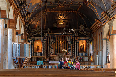 visiting one of the Unesco Heritage churches on the islands in Achao, photos by Jeff Bartlett