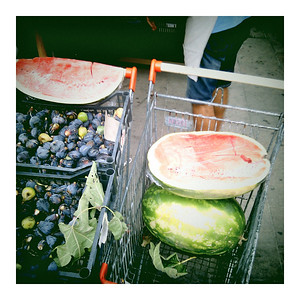 Your pick of fresh produce: fichi (figs) & anguria (watermelon)