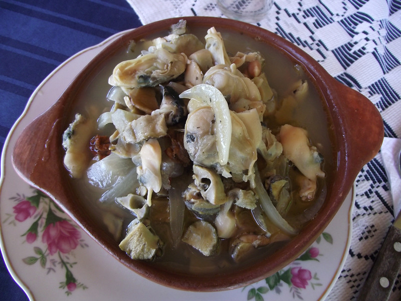 It's actually delicious - seafood stew on the coast of Chile.