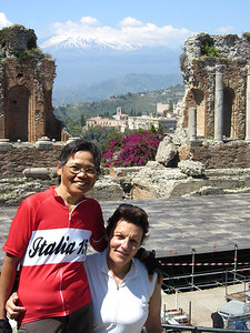 Chris and Lani at the Greek Theater in Taormina