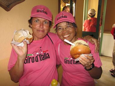 An ice cream sandwich while awaiting the Giro d'Italia in Tropea