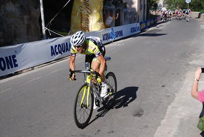 Italian Racer Oscar Gatto Breaks away on a steep climb at 1300
